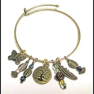 Tree of Life Bangle with Feather and Butterfly